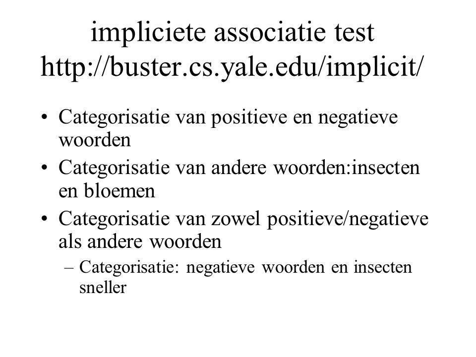 impliciete associatie test http://buster.cs.yale.edu/implicit/ Categorisatie van positieve en negatieve woorden Categorisatie van andere woorden:insecten en bloemen Categorisatie van zowel positieve/negatieve als andere woorden –Categorisatie: negatieve woorden en insecten sneller