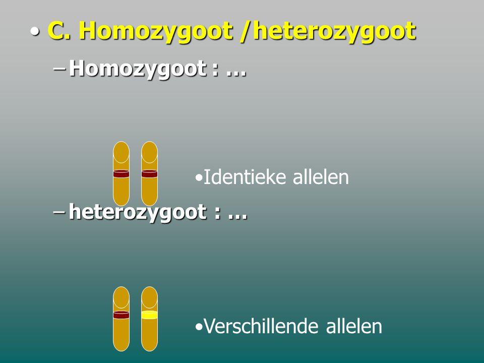 B. Homologe chromosomenB. Homologe chromosomen –'bespreken' op overeenkomstige plaatsen …………………………….. gen allel chromosoom