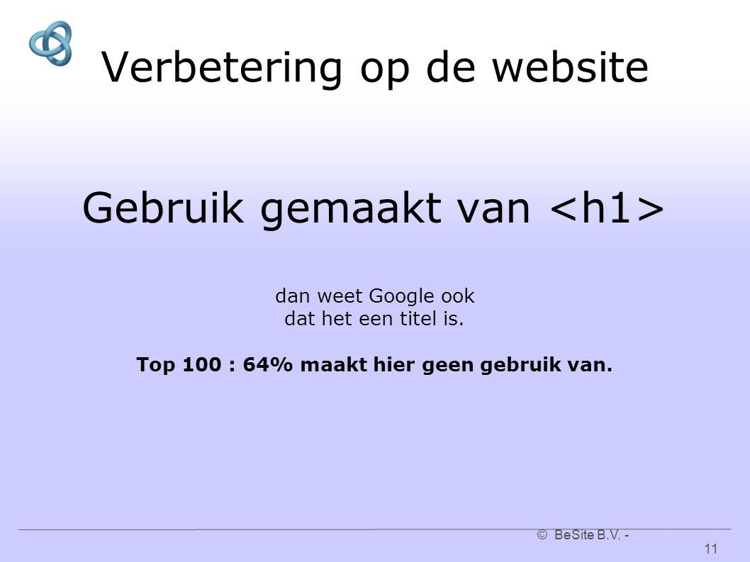 © BeSite B.V. - www.besite.nl 11www.besite.nl Verbetering op de website Gebruik gemaakt van dan weet Google ook dat het een titel is. Top 100 : 64% ma