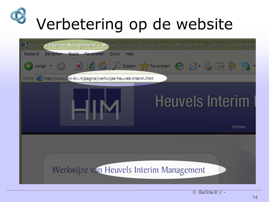 © BeSite B.V. - www.besite.nl 14www.besite.nl Verbetering op de website