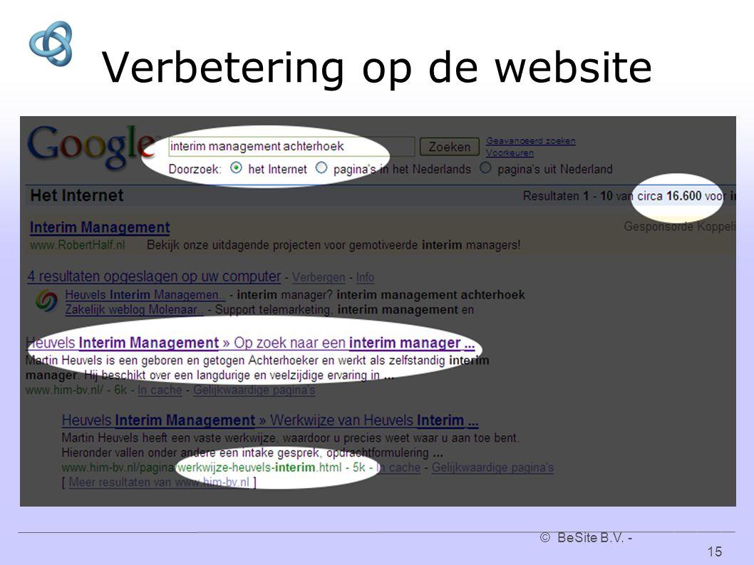 © BeSite B.V. - www.besite.nl 15www.besite.nl Verbetering op de website