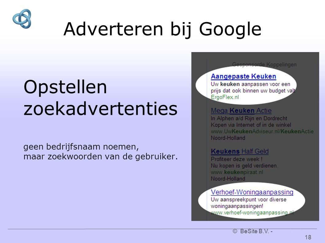 © BeSite B.V. - www.besite.nl 18www.besite.nl Adverteren bij Google Opstellen zoekadvertenties geen bedrijfsnaam noemen, maar zoekwoorden van de gebru