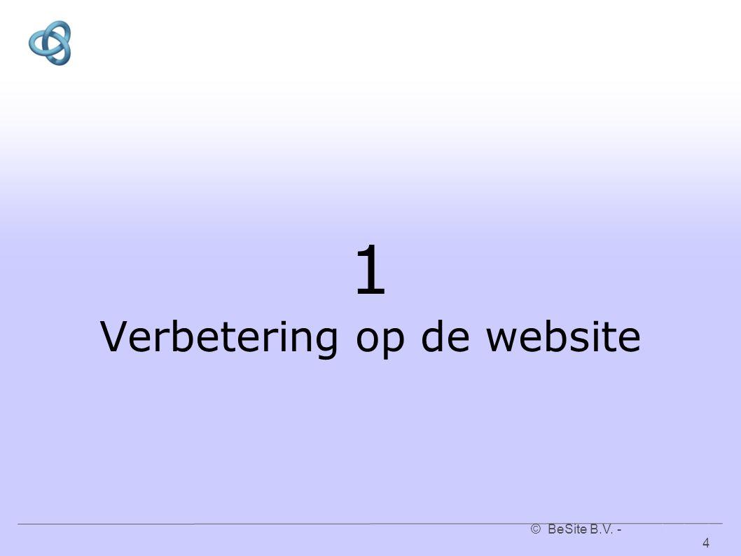 © BeSite B.V. - www.besite.nl 4www.besite.nl 1 Verbetering op de website