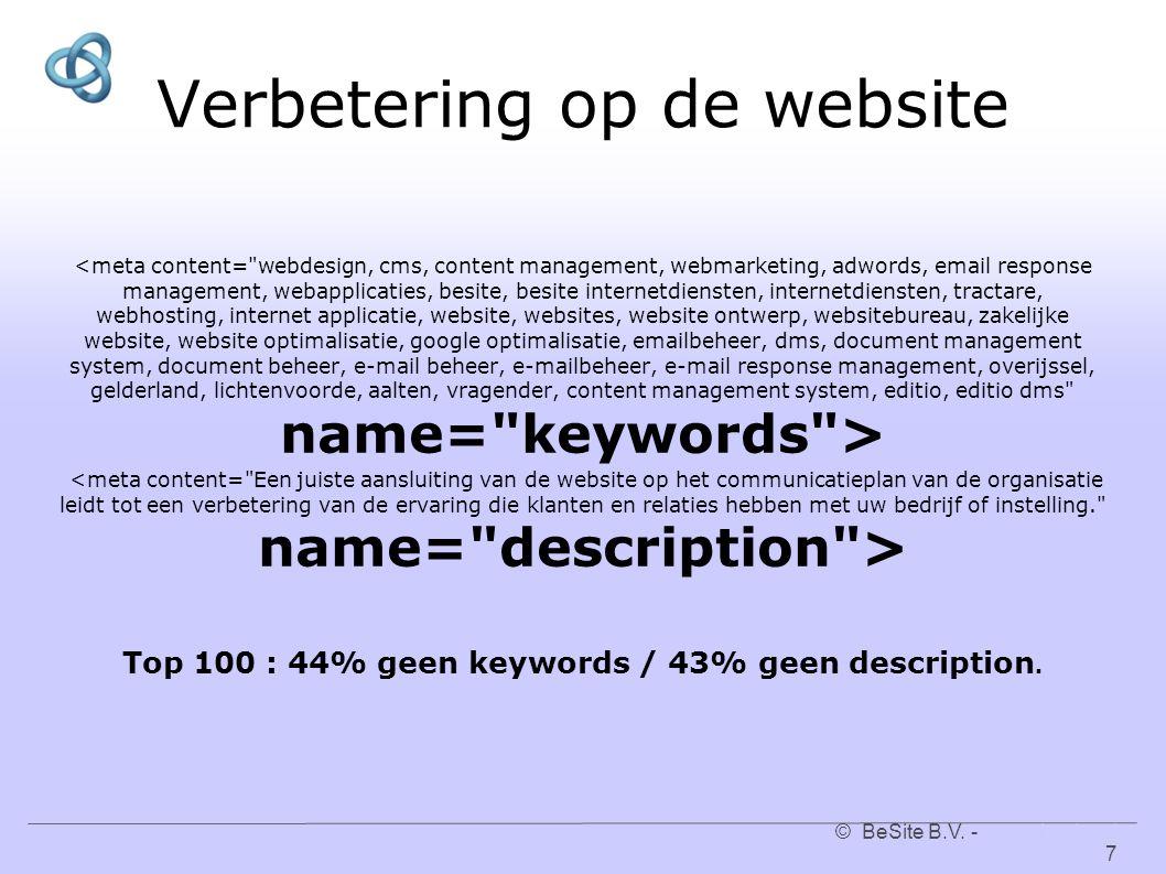 © BeSite B.V. - www.besite.nl 7www.besite.nl Verbetering op de website Top 100 : 44% geen keywords / 43% geen description.