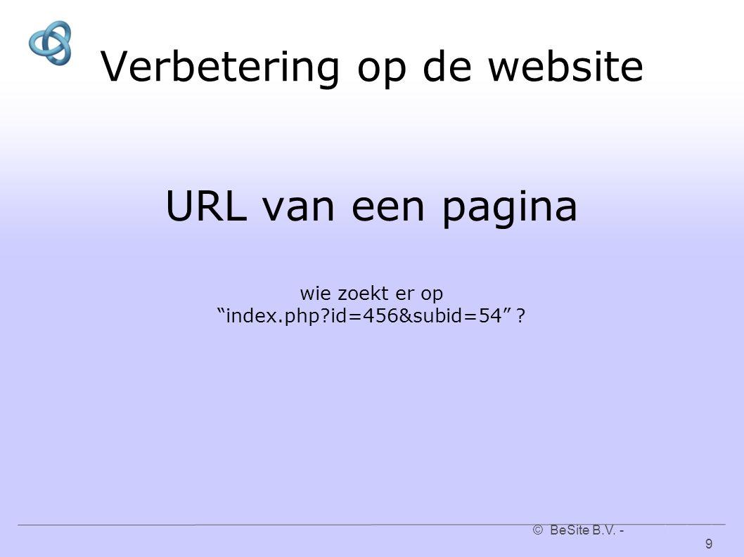 """© BeSite B.V. - www.besite.nl 9www.besite.nl Verbetering op de website URL van een pagina wie zoekt er op """"index.php?id=456&subid=54"""" ?"""