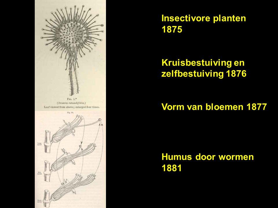 Insectivore planten 1875 Kruisbestuiving en zelfbestuiving 1876 Vorm van bloemen 1877 Humus door wormen 1881