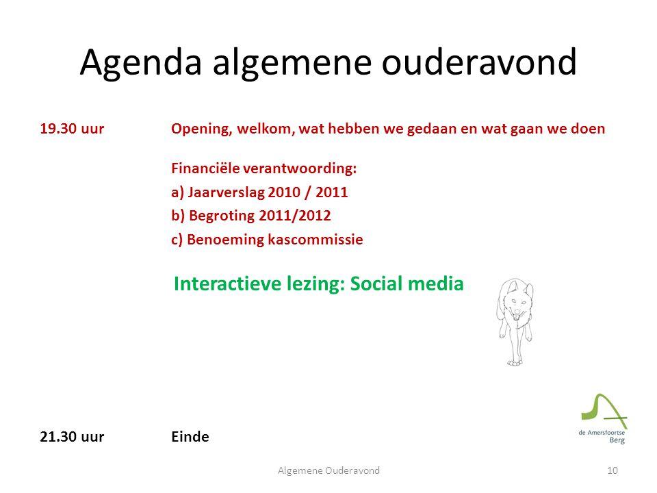 Agenda algemene ouderavond 19.30 uur Opening, welkom, wat hebben we gedaan en wat gaan we doen Financiële verantwoording: a) Jaarverslag 2010 / 2011 b