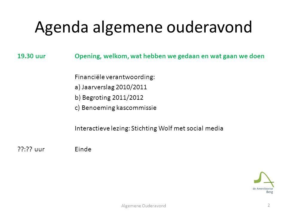 Agenda algemene ouderavond 19.30 uur Opening, welkom, wat hebben we gedaan en wat gaan we doen Financiële verantwoording: a) Jaarverslag 2010/2011 b)