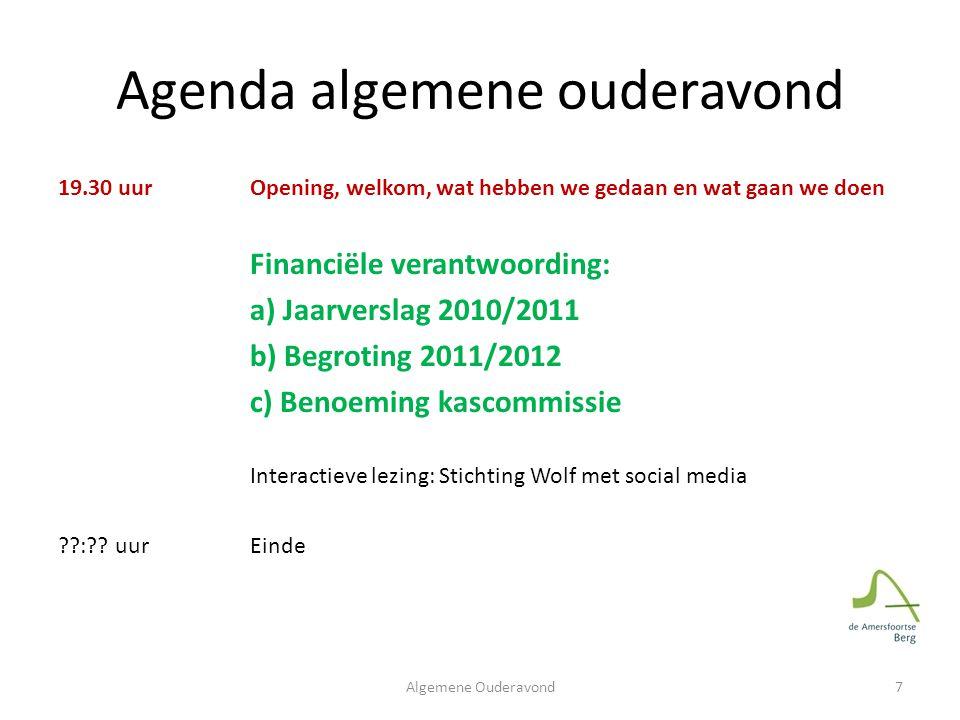 Financieel overzicht 8Algemene Ouderavond Décharge door Kascommissie: Martin Nolsen en Frits Verkerk