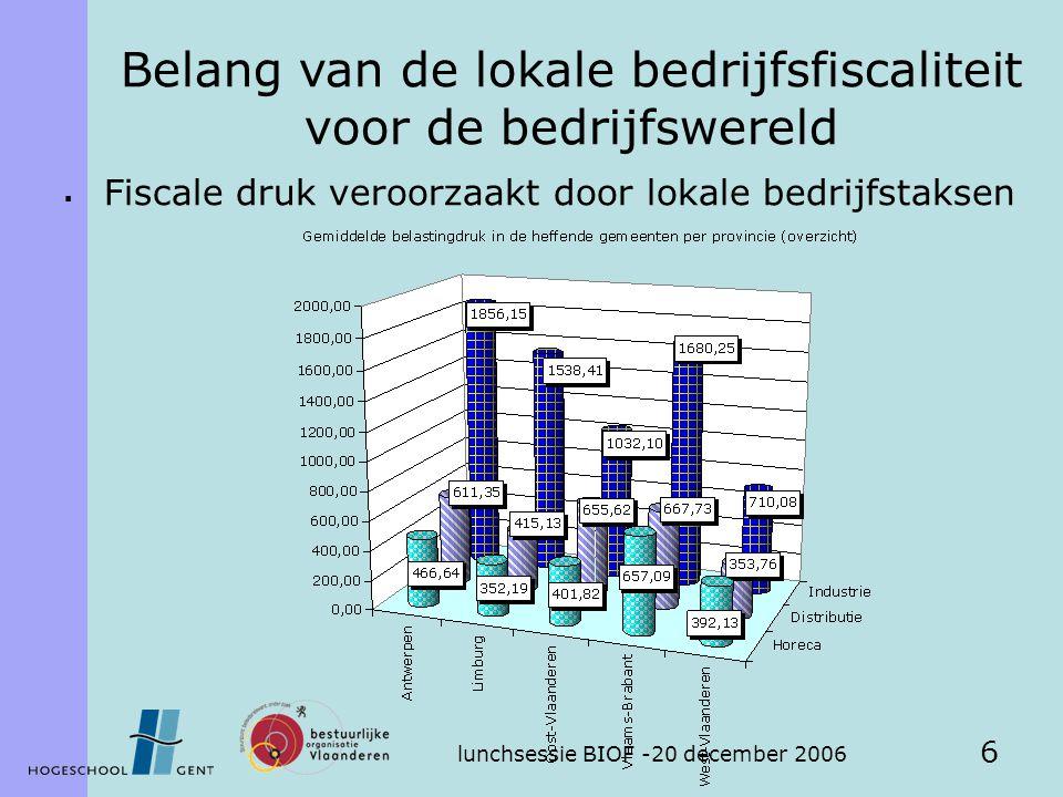 lunchsessie BIOF -20 december 2006 6  Fiscale druk veroorzaakt door lokale bedrijfstaksen Belang van de lokale bedrijfsfiscaliteit voor de bedrijfswereld