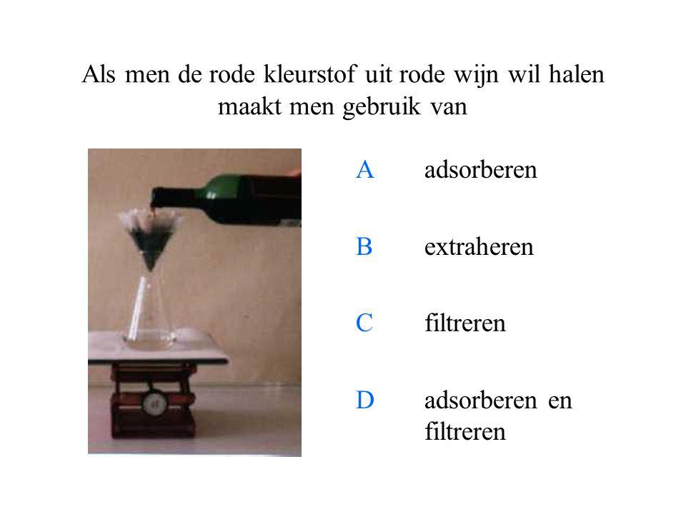 Als men de rode kleurstof uit rode wijn wil halen maakt men gebruik van A adsorberen Bextraheren Cfiltreren Dadsorberen en filtreren