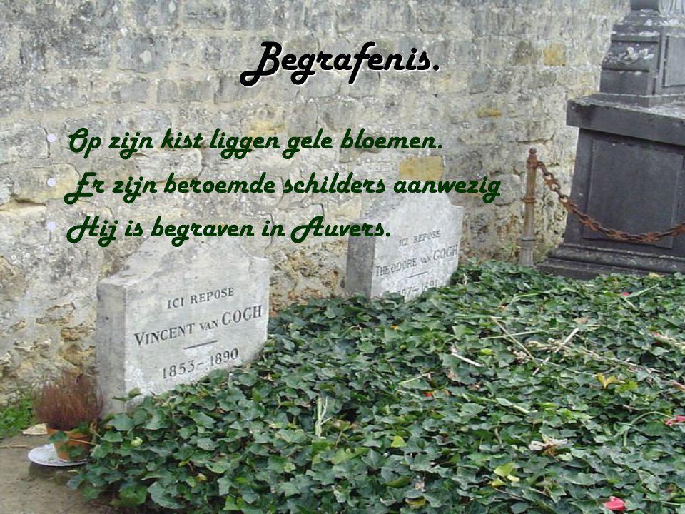 Begrafenis. Op zijn kist liggen gele bloemen. Er zijn beroemde schilders aanwezig Hij is begraven in Auvers.