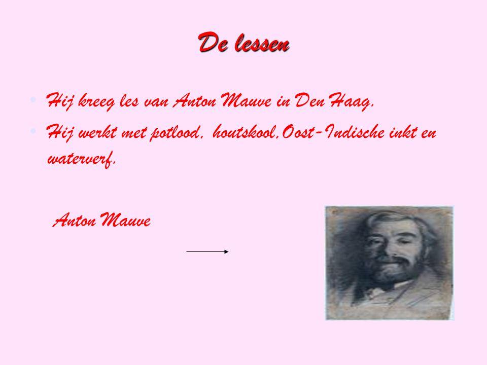 De lessen Hij kreeg les van Anton Mauve in Den Haag. Hij werkt met potlood, houtskool,Oost-Indische inkt en waterverf. Anton Mauve