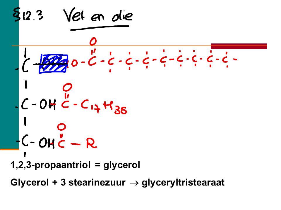 Olie en vetten 24  Vet Vast bij kamertemperatuur (dieren) Alleen enkelvoudige bindingen  Olie Vloeibaar (planten) Bevatten onverzadige bindingen Vet