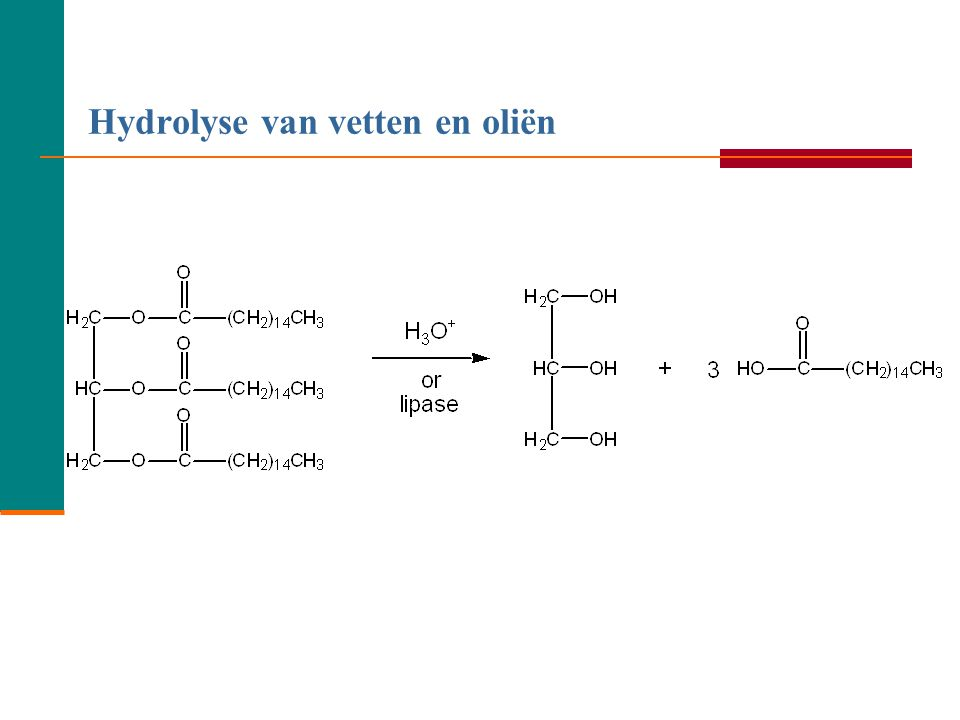 Leermomentje  Geef de reactievergelijking in structuurformules wanneer glycerol reageert met oliezuur. 29