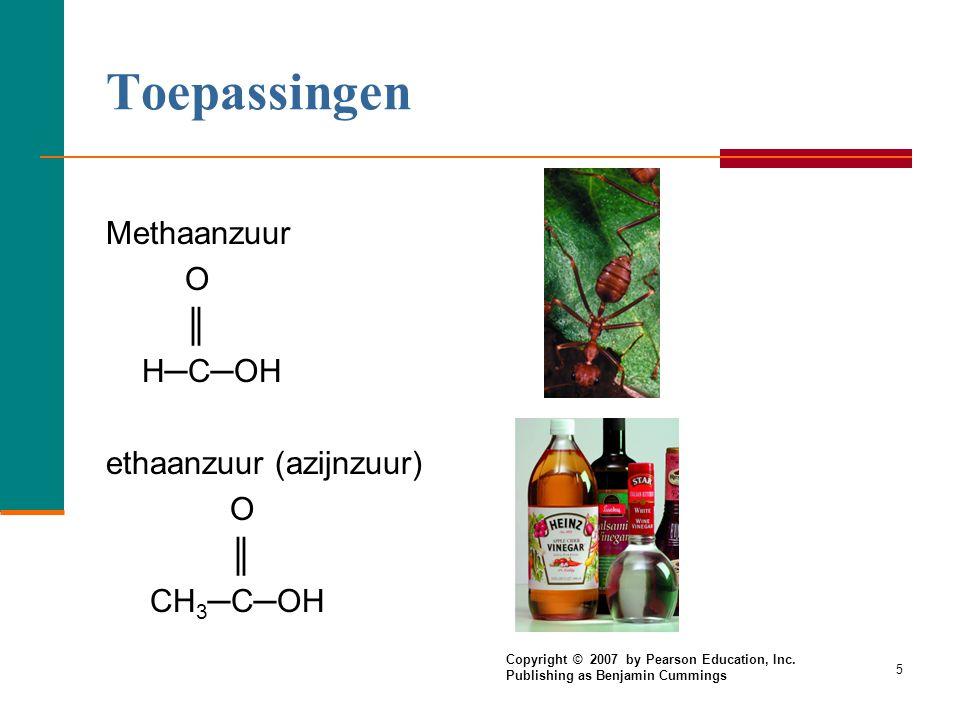 4 IUPAC namen  CH 4 methaan HCOOH methaanzuur CH 3 —CH 3 ethaan CH 3 —COOH ethaanzuur  Zijtakken altijd nummeren vanaf de zuurgroep. CH 3 O | ║ CH 3