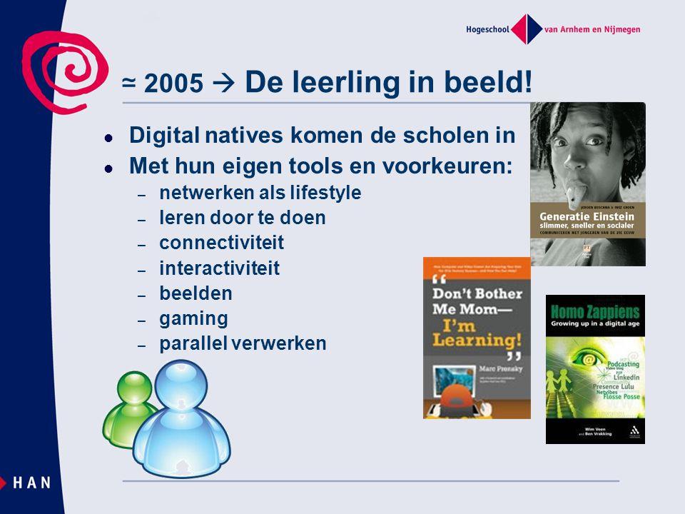 ≃ 2005  De leerling in beeld! Digital natives komen de scholen in Met hun eigen tools en voorkeuren: – netwerken als lifestyle – leren door te doen –