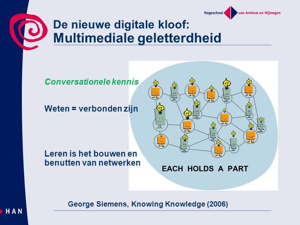 De nieuwe digitale kloof: Multimediale geletterdheid Conversationele kennis Weten = verbonden zijn Leren is het bouwen en benutten van netwerken Georg