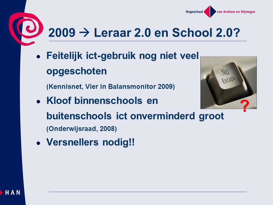 2009  Leraar 2.0 en School 2.0? Feitelijk ict-gebruik nog niet veel opgeschoten (Kennisnet, Vier in Balansmonitor 2009) Kloof binnenschools en buiten