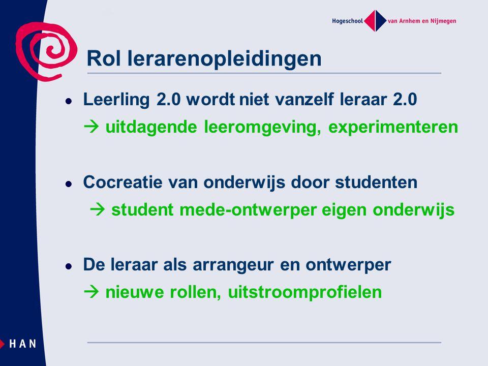 Rol lerarenopleidingen Leerling 2.0 wordt niet vanzelf leraar 2.0  uitdagende leeromgeving, experimenteren Cocreatie van onderwijs door studenten  s