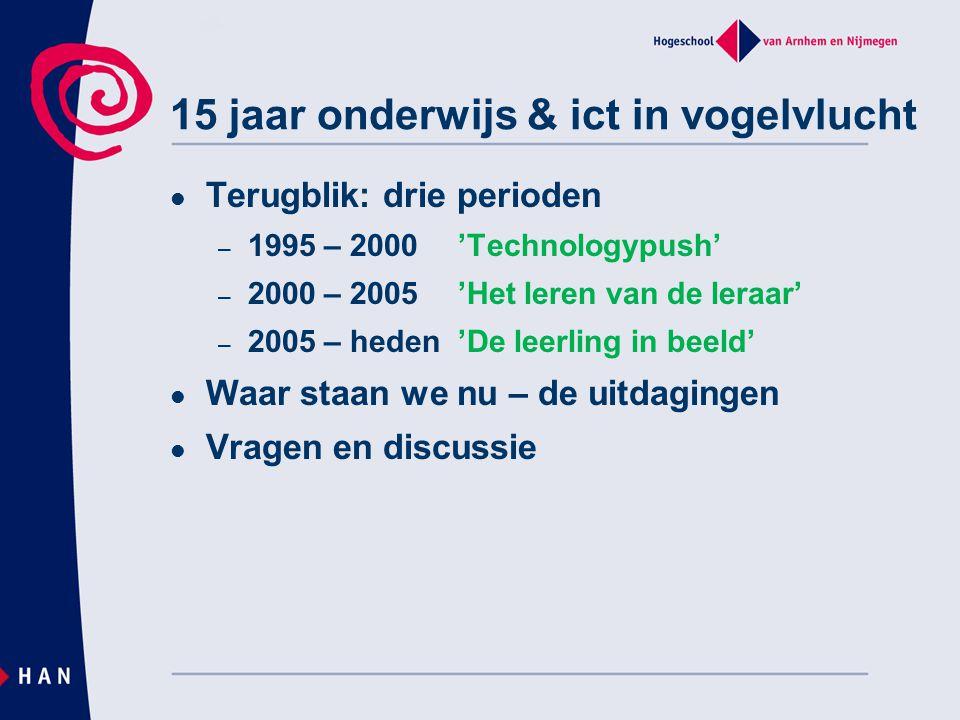 Terugblik: drie perioden – 1995 – 2000'Technologypush' – 2000 – 2005'Het leren van de leraar' – 2005 – heden'De leerling in beeld' Waar staan we nu –