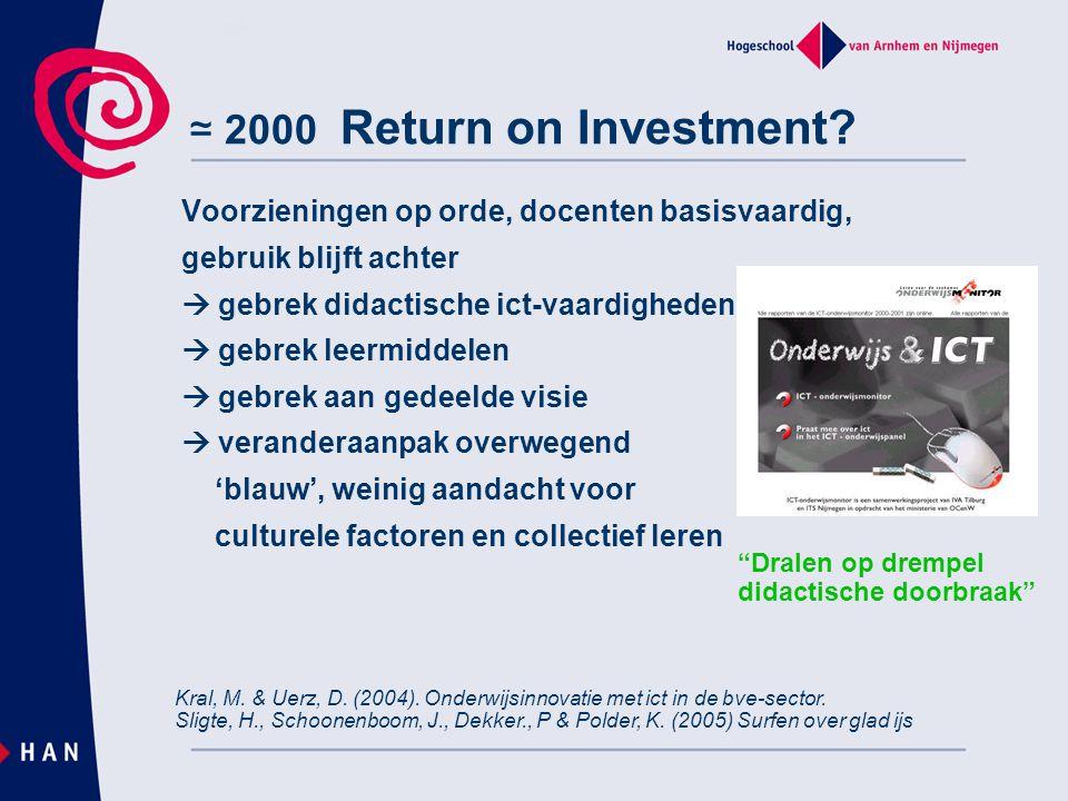 ≃ 2000 Return on Investment? Voorzieningen op orde, docenten basisvaardig, gebruik blijft achter  gebrek didactische ict-vaardigheden  gebrek leermi