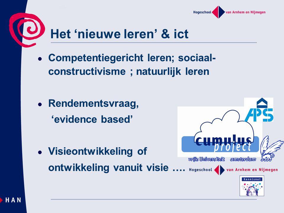 Het 'nieuwe leren' & ict Competentiegericht leren; sociaal- constructivisme ; natuurlijk leren Rendementsvraag, 'evidence based' Visieontwikkeling of