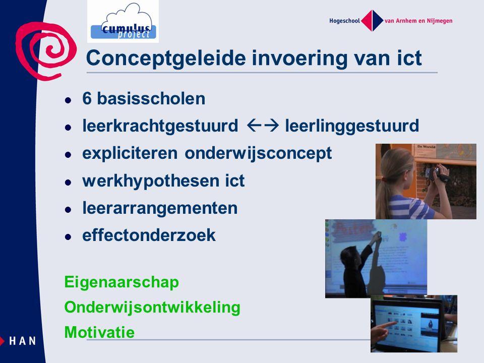 Conceptgeleide invoering van ict 6 basisscholen leerkrachtgestuurd  leerlinggestuurd expliciteren onderwijsconcept werkhypothesen ict leerarrangemen