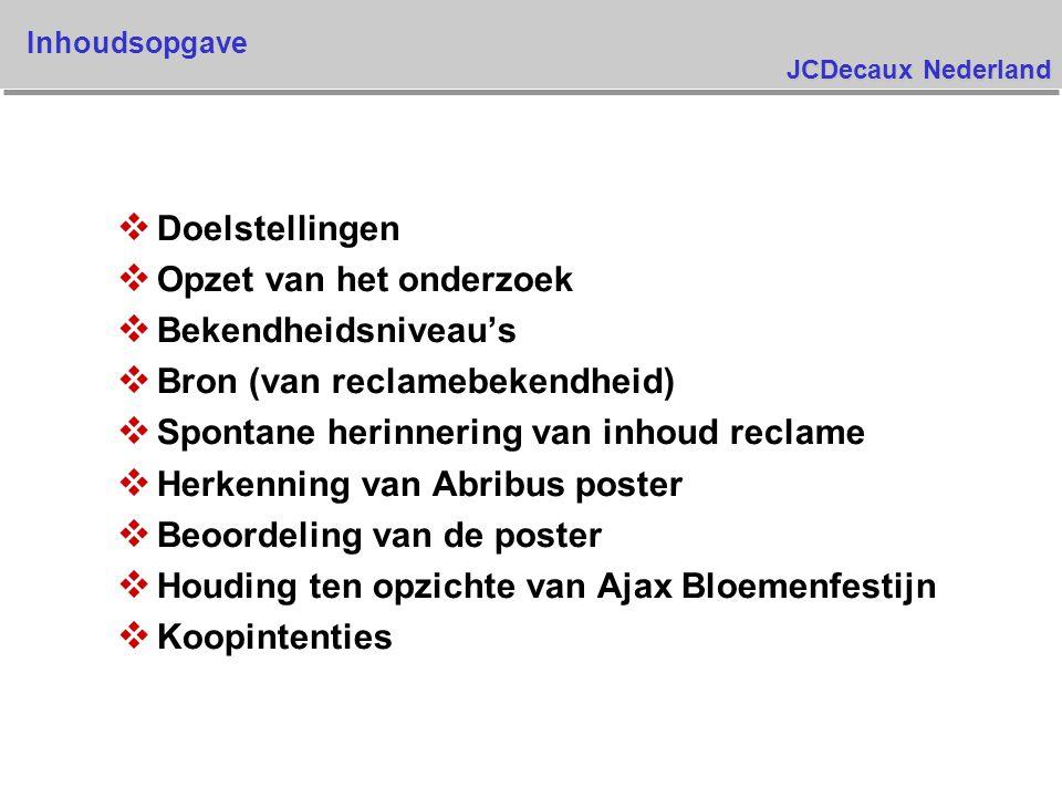 JCDecaux Nederland v Doelstellingen v Opzet van het onderzoek v Bekendheidsniveau's v Bron (van reclamebekendheid) v Spontane herinnering van inhoud reclame v Herkenning van Abribus poster v Beoordeling van de poster v Houding ten opzichte van Ajax Bloemenfestijn v Koopintenties Inhoudsopgave