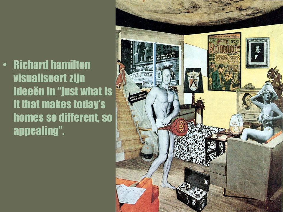 "Richard hamilton visualiseert zijn ideeën in ""just what is it that makes today's homes so different, so appealing""."