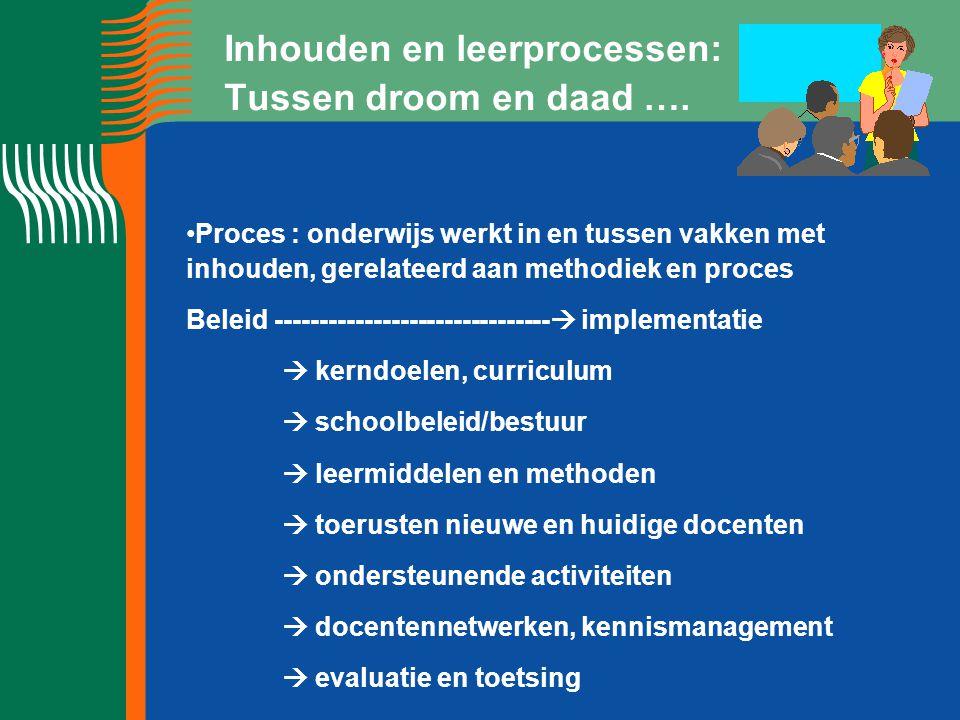 Inhouden en leerprocessen: Tussen droom en daad …. Proces : onderwijs werkt in en tussen vakken met inhouden, gerelateerd aan methodiek en proces Bele