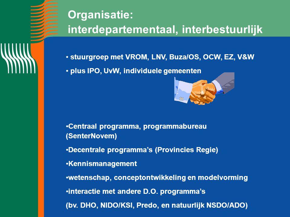 Organisatie: interdepartementaal, interbestuurlijk stuurgroep met VROM, LNV, Buza/OS, OCW, EZ, V&W plus IPO, UvW, individuele gemeenten Centraal programma, programmabureau (SenterNovem) Decentrale programma's (Provincies Regie) Kennismanagement wetenschap, conceptontwikkeling en modelvorming interactie met andere D.O.