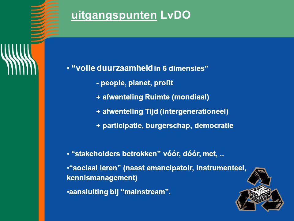 """uitgangspunten LvDO """"volle duurzaamheid in 6 dimensies"""" - people, planet, profit + afwenteling Ruimte (mondiaal) + afwenteling Tijd (intergenerationee"""