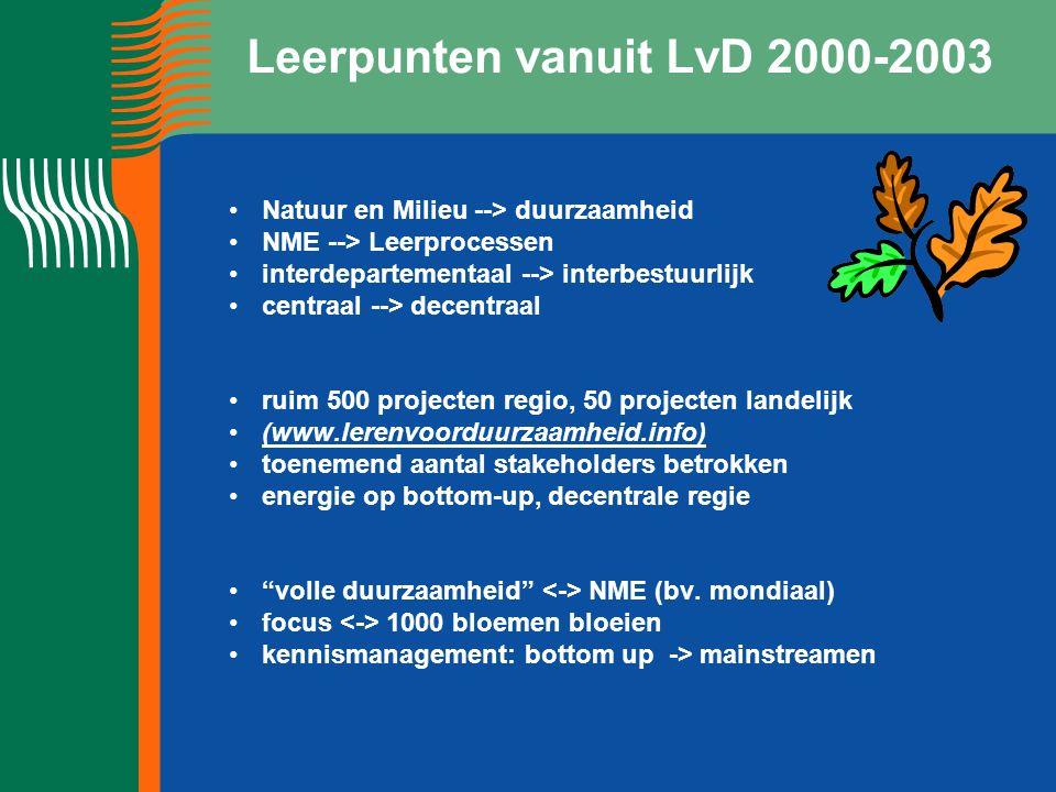 Leerpunten vanuit LvD 2000-2003 Natuur en Milieu --> duurzaamheid NME --> Leerprocessen interdepartementaal --> interbestuurlijk centraal --> decentraal ruim 500 projecten regio, 50 projecten landelijk (www.lerenvoorduurzaamheid.info) toenemend aantal stakeholders betrokken energie op bottom-up, decentrale regie volle duurzaamheid NME (bv.