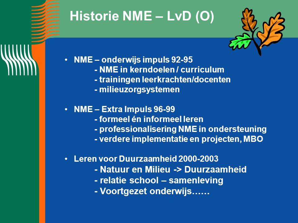 Historie NME – LvD (O) NME – onderwijs impuls 92-95 - NME in kerndoelen / curriculum - trainingen leerkrachten/docenten - milieuzorgsystemen NME – Extra Impuls 96-99 - formeel én informeel leren - professionalisering NME in ondersteuning - verdere implementatie en projecten, MBO Leren voor Duurzaamheid 2000-2003 - Natuur en Milieu -> Duurzaamheid - relatie school – samenleving - Voortgezet onderwijs……