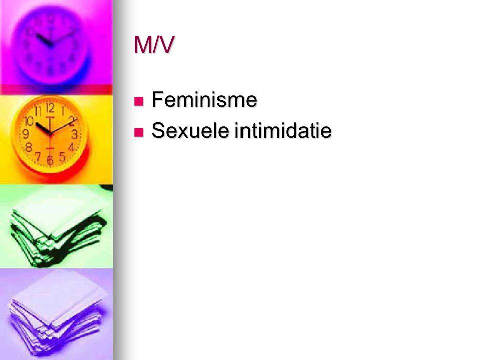 M/V Feminisme Feminisme Sexuele intimidatie Sexuele intimidatie