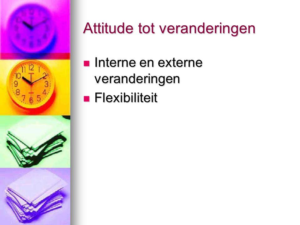 Attitude tot veranderingen Interne en externe veranderingen Interne en externe veranderingen Flexibiliteit Flexibiliteit