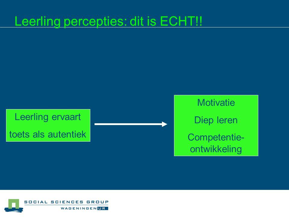 Leerling percepties: dit is ECHT!! De leerling moet het als ECHT ervaren!! Leerlingpercepties bepalen het effect van de toets Leerling ervaart toets a