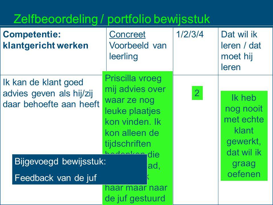 Zelfbeoordeling / portfolio bewijsstuk Competentie: klantgericht werken Concreet Voorbeeld van leerling 1/2/3/4Dat wil ik leren / dat moet hij leren I