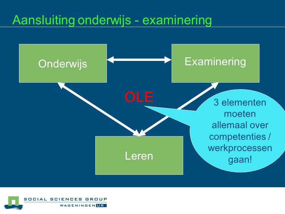 Aansluiting onderwijs - examinering Onderwijs Examinering Leren OLE 3 elementen moeten allemaal over competenties / werkprocessen gaan!