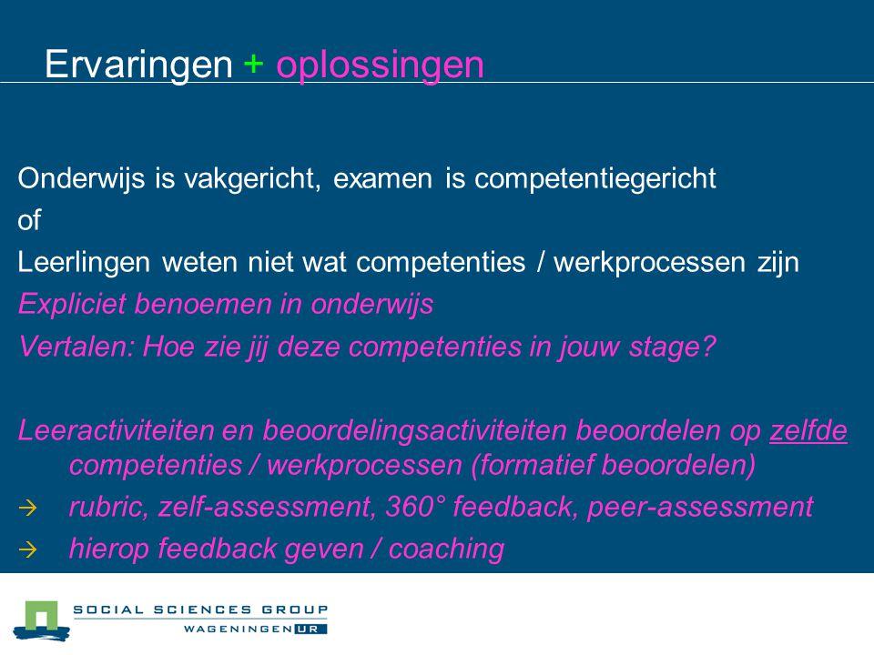 Ervaringen + oplossingen Onderwijs is vakgericht, examen is competentiegericht of Leerlingen weten niet wat competenties / werkprocessen zijn Explicie