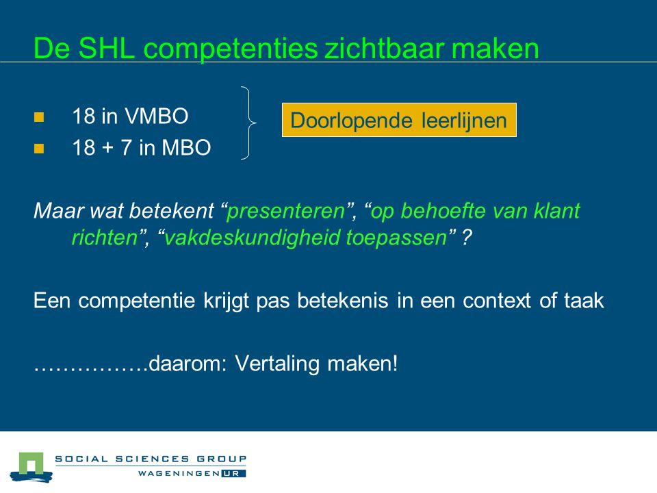"""De SHL competenties zichtbaar maken 18 in VMBO 18 + 7 in MBO Maar wat betekent """"presenteren"""", """"op behoefte van klant richten"""", """"vakdeskundigheid toepa"""