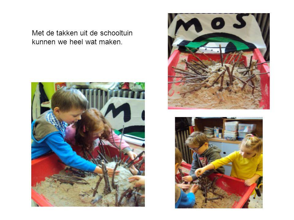 Met de takken uit de schooltuin kunnen we heel wat maken.