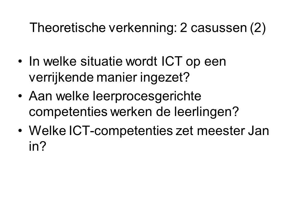 Theoretische verkenning: 2 casussen (2) In welke situatie wordt ICT op een verrijkende manier ingezet? Aan welke leerprocesgerichte competenties werke