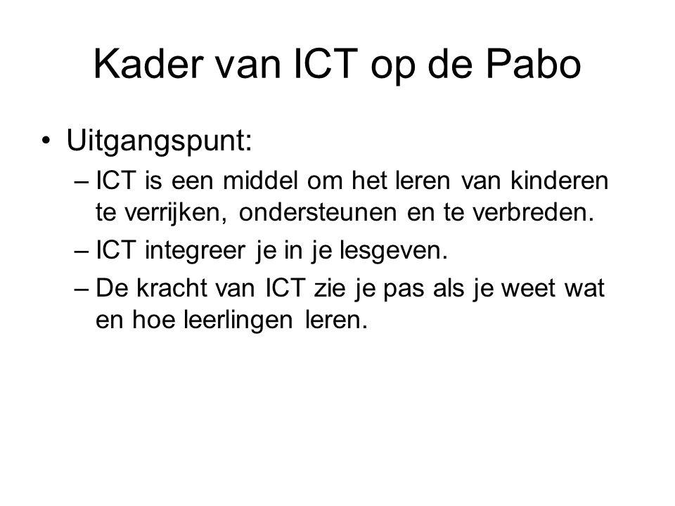 Kader van ICT op de Pabo Uitgangspunt: –ICT is een middel om het leren van kinderen te verrijken, ondersteunen en te verbreden. –ICT integreer je in j