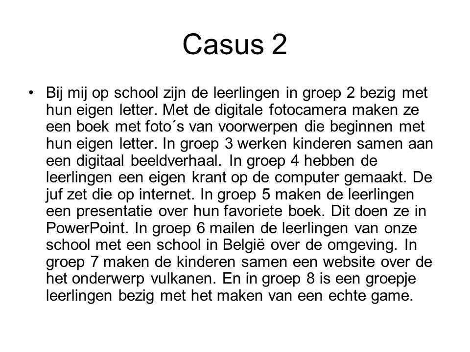 Casus 2 Bij mij op school zijn de leerlingen in groep 2 bezig met hun eigen letter. Met de digitale fotocamera maken ze een boek met foto´s van voorwe