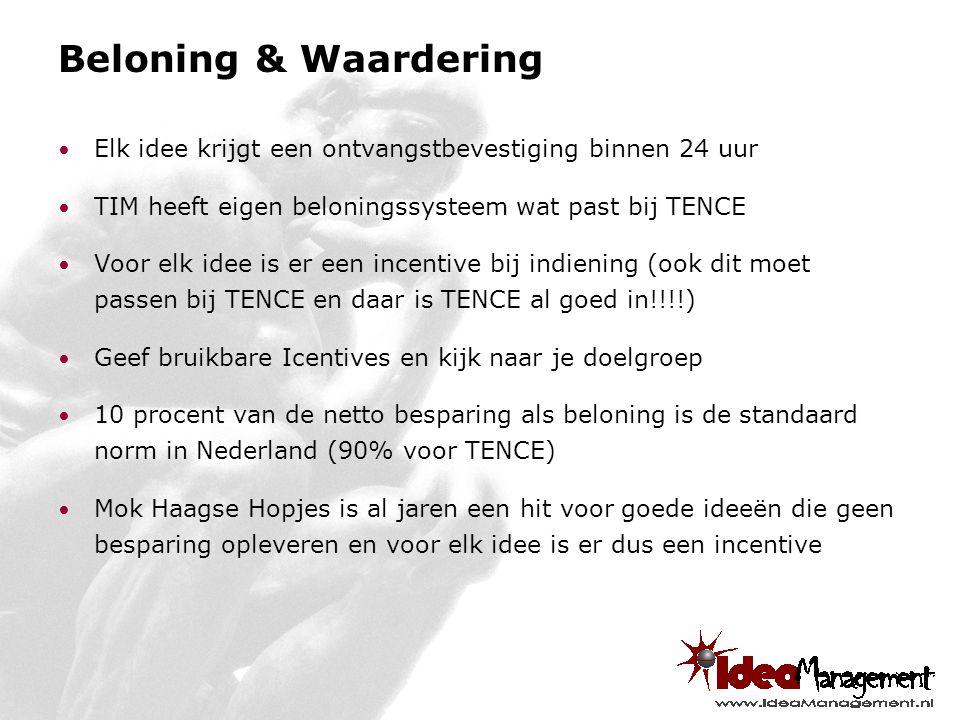 Beloning & Waardering Elk idee krijgt een ontvangstbevestiging binnen 24 uur TIM heeft eigen beloningssysteem wat past bij TENCE Voor elk idee is er een incentive bij indiening (ook dit moet passen bij TENCE en daar is TENCE al goed in!!!!) Geef bruikbare Icentives en kijk naar je doelgroep 10 procent van de netto besparing als beloning is de standaard norm in Nederland (90% voor TENCE) Mok Haagse Hopjes is al jaren een hit voor goede ideeën die geen besparing opleveren en voor elk idee is er dus een incentive