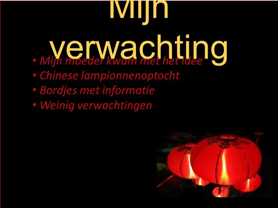 Mijn verwachting Mijn moeder kwam met het idee Chinese lampionnenoptocht Bordjes met informatie Weinig verwachtingen