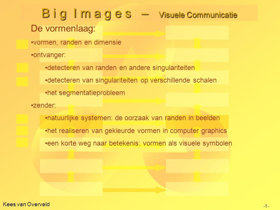 Kees van Overveld B i g I m a g e s – Visuele Communicatie -1- De vormenlaag: vormen, randen en dimensie ontvanger: detecteren van randen en andere singulariteiten detecteren van singulariteiten op verschillende schalen het segmentatieprobleem zender: natuurlijke systemen: de oorzaak van randen in beelden het realiseren van gekleurde vormen in computer graphics een korte weg naar betekenis: vormen als visuele symbolen
