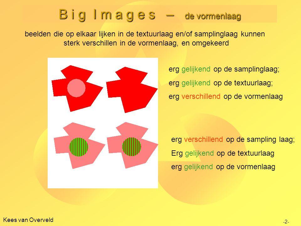 B i g I m a g e s – de vormenlaag poging om vorm te definiëren Kees van Overveld vorm is een invariant die gedefinieerd is door textuurverschillen maar niet alle textuurverschillen introduceren een vorm.